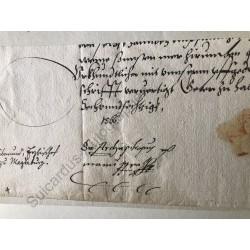 Halle 1566 - Brieffragment...